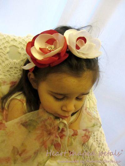 Handmade fabric flowers headband