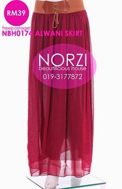 (LESS 20% UNTIL AIDILFITRI) NBH0174 ALWANI CHIFFON SKIRT