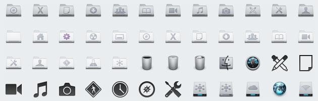 明るめグレーのクールな素材 | ゴミ箱・ドライブ・フォルダなどデスクトップアイコン色々