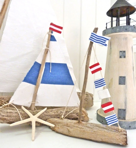nautical driftwood boats