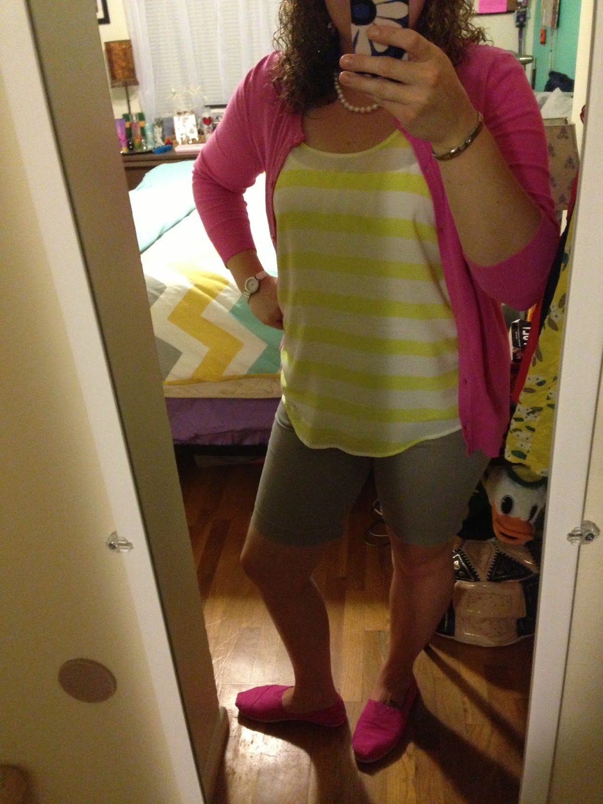Yellow Blouse, Merona Pink Cardigan, Shorts Via Target, Toms  (pink) Dkny White Watch, Pearl Necklace (gifted), Nominations Charm  Bracelet
