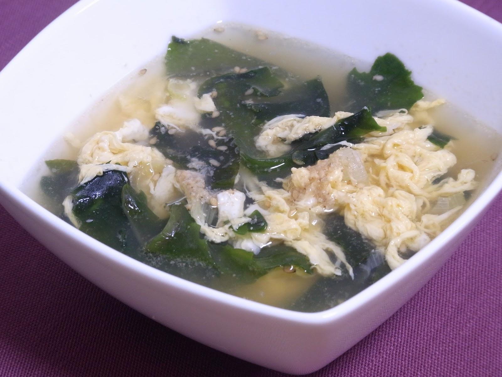 Miso and Yuzu: Korean-style egg & wakame soup