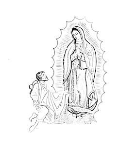 Virgen de Guadalupe y San Juan diego para colorear y pintar
