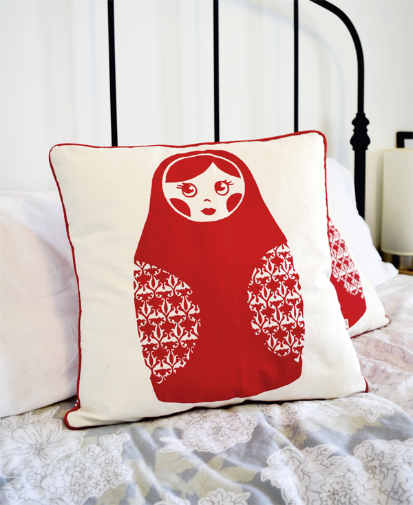Babushka Cushion in Red