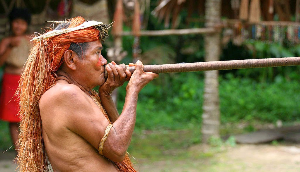 Yahua hunter using a blowgun