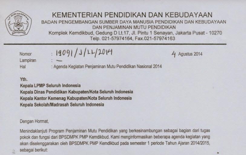 Agenda Kegiatan Penjaminan Mutu Pendidikan Nasional 2014
