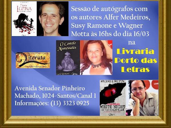 Sessão de autógrafos com Alfer Medeiros, Susy Ramone e Wagner Motta em Santos