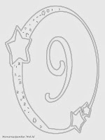 Mewarnai angka 9 bergaya bulan dan bintang