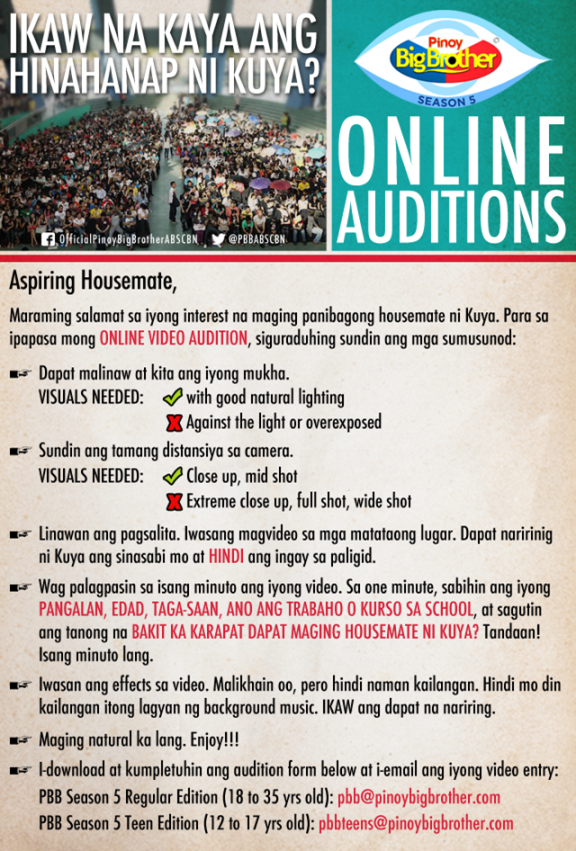 Pinoy Big Brother Season 5 Online Auditions mechanics, info on how to join