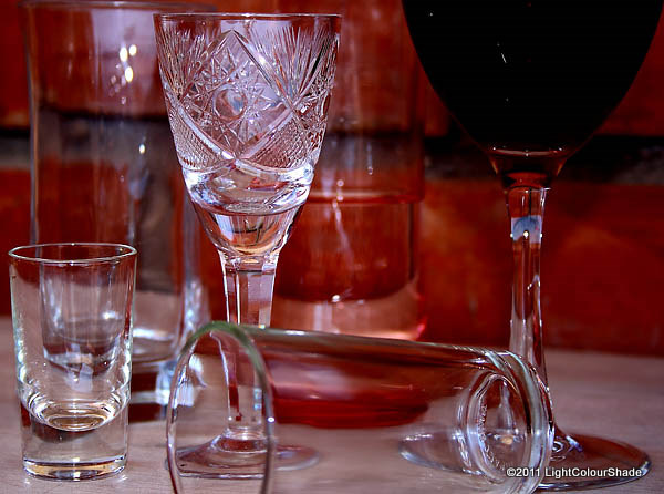 Goblets and glasses. After the party