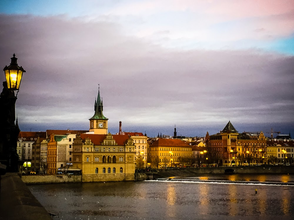 Sunset over charles bridge and river 2