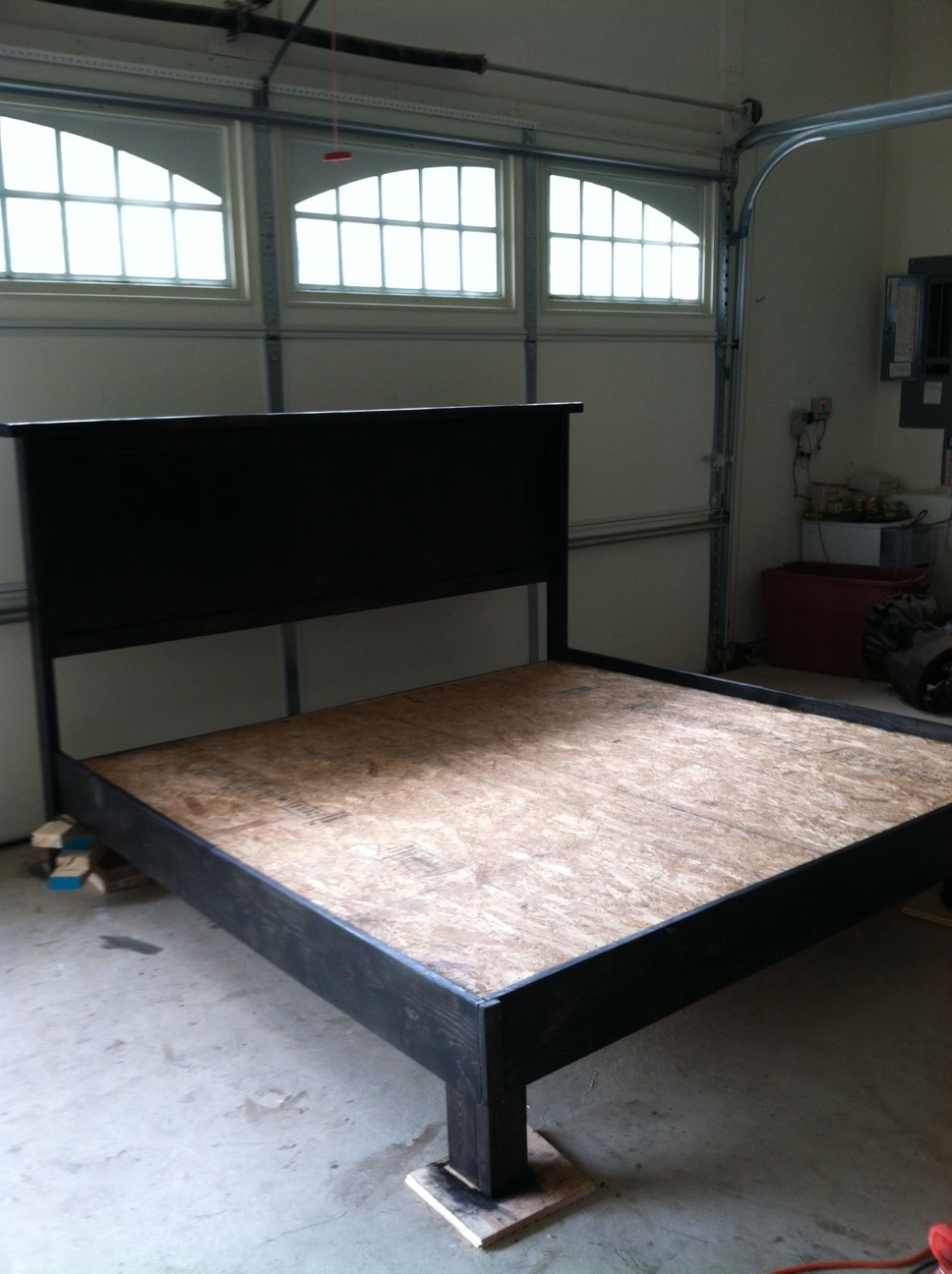 Diy king bed frame - All Stained Up And Ready To Go