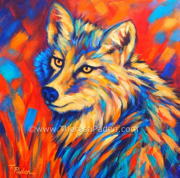 Wolf Painting Colourful With Acrylic Paint