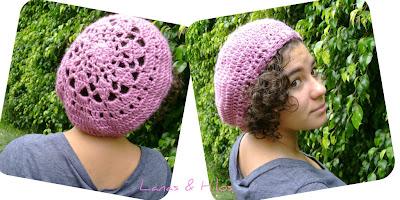 Crochet Hat Pattern: Raspberry Beret with Flower, Crochet