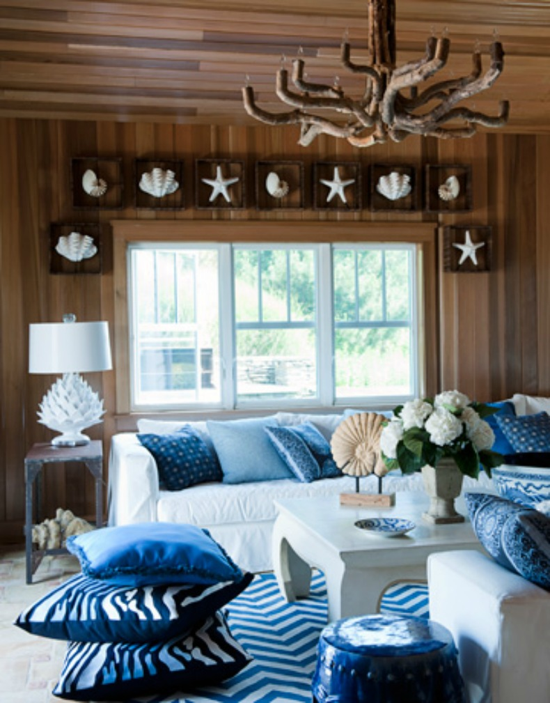 seashell chic, coastal , white sipcover sofa