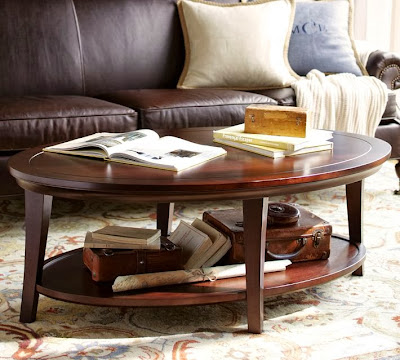 pottery barn metropolitan oval coffee table decor look