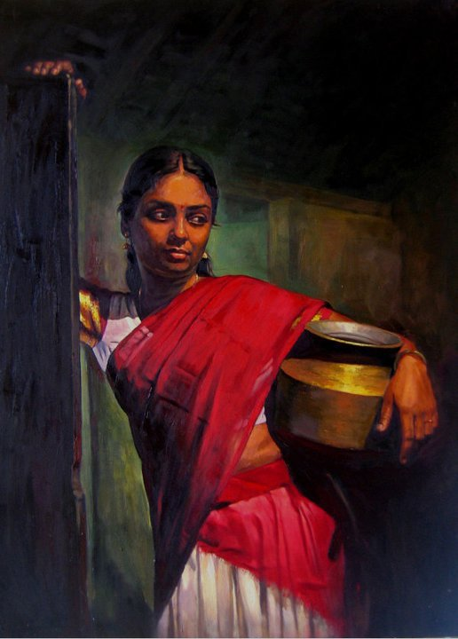Paintings of Classical young women of Tamil Nadu, India