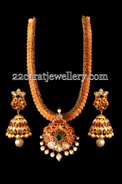 Kasu Mala Detachable locket Jhumkas