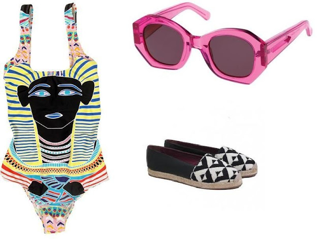 MyMu Escapes Espadrille, Mara Hoffman swimsuit, Karen Walker Patsy Sunglasses