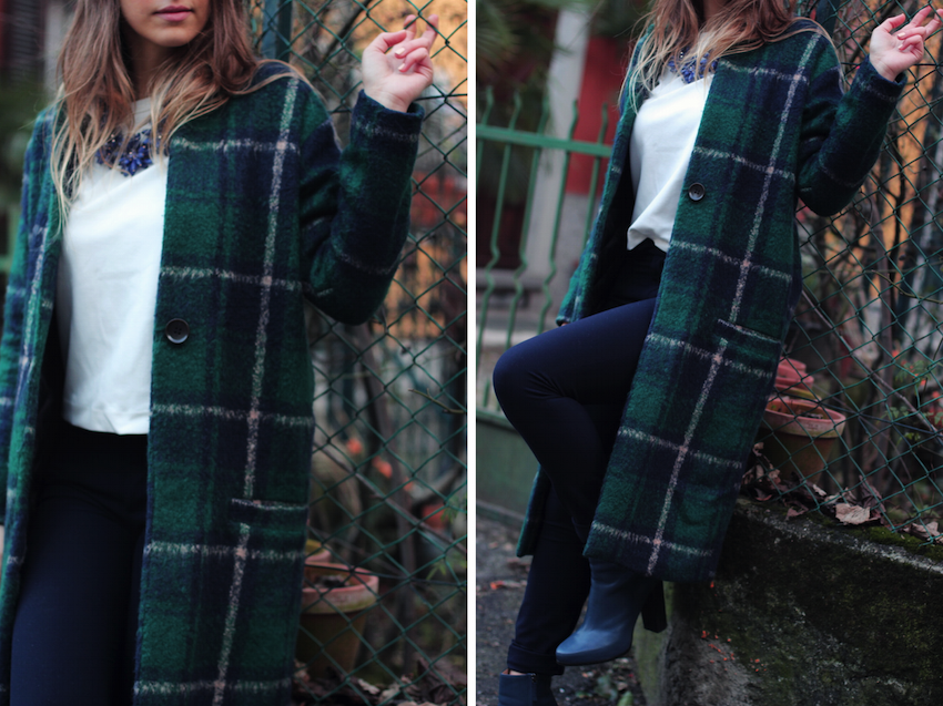 checkered coat fashion street style milan