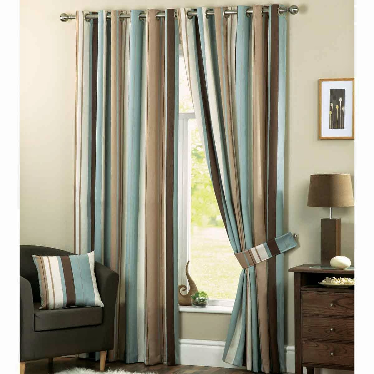 Blue curtain living room - Striped Living Room Curtains Chocolate Brown Curtains Best Combination With Different Colors