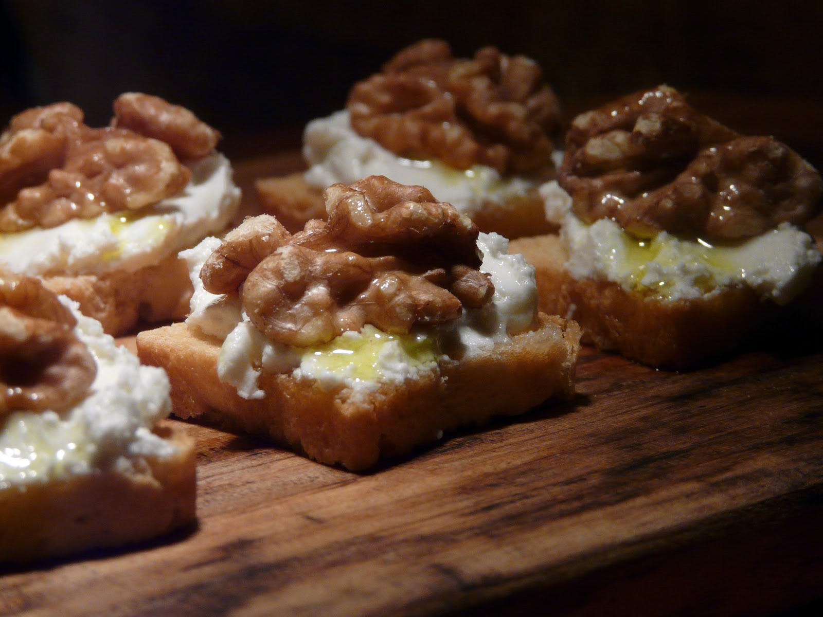 For a quick appetizer we had little cocktail toasts topped with warm ...