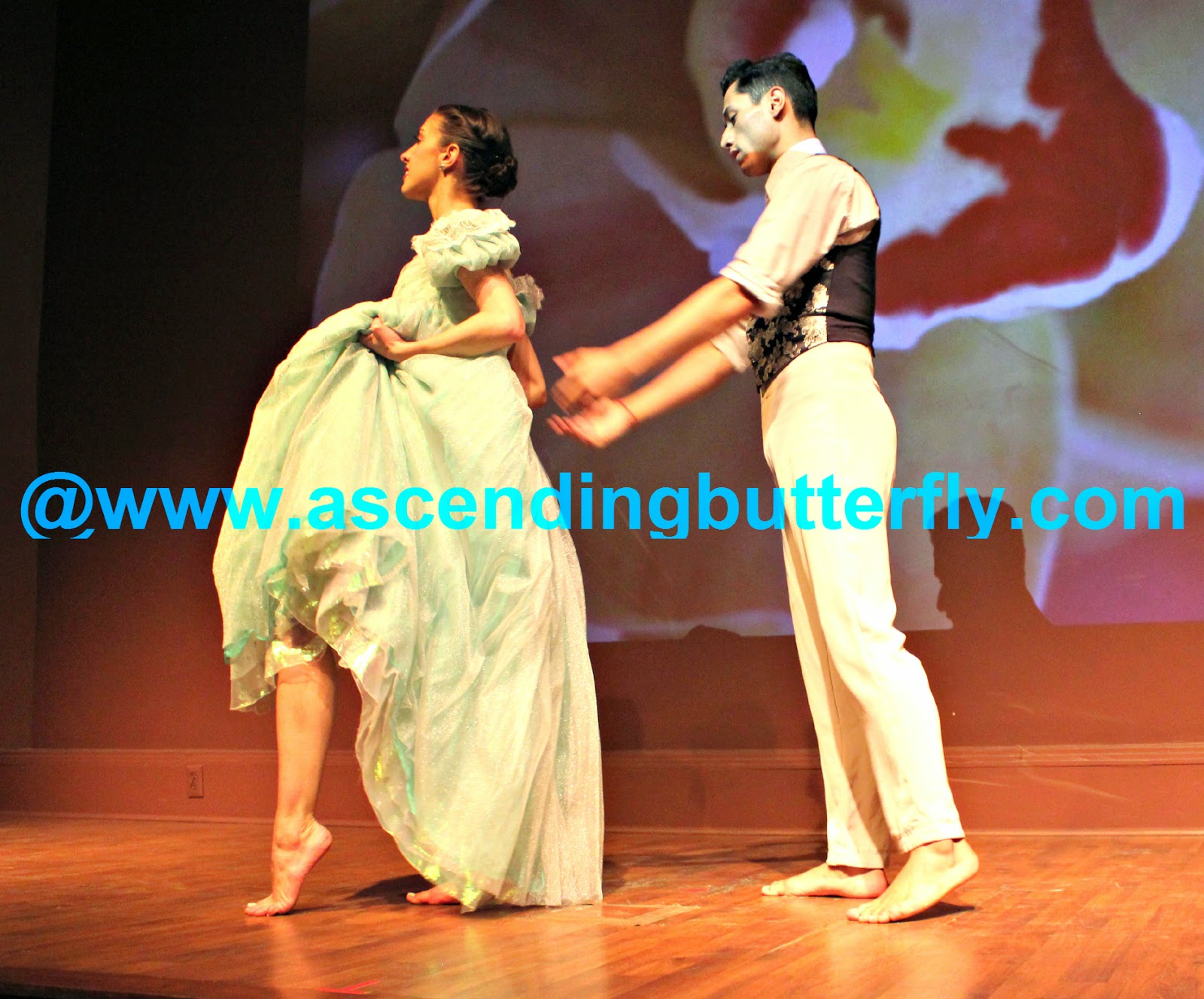 Ballet Hispanico BHdos dancers in motion performing El Vals - Waltz Duet From Left to Right: Nicole Garcia, Nicolay Espitia.