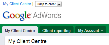 Screenshot of Google AdWords My Client Center