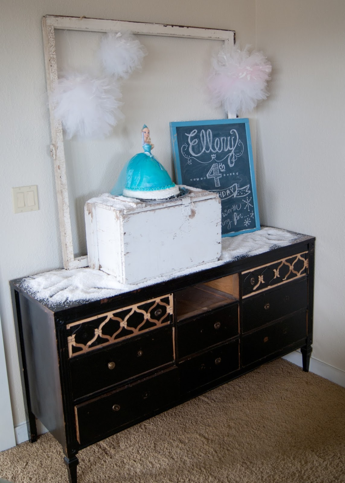 Simple FROZEN Party - birthday party on a budget - using vintage window, old box, chalkboard