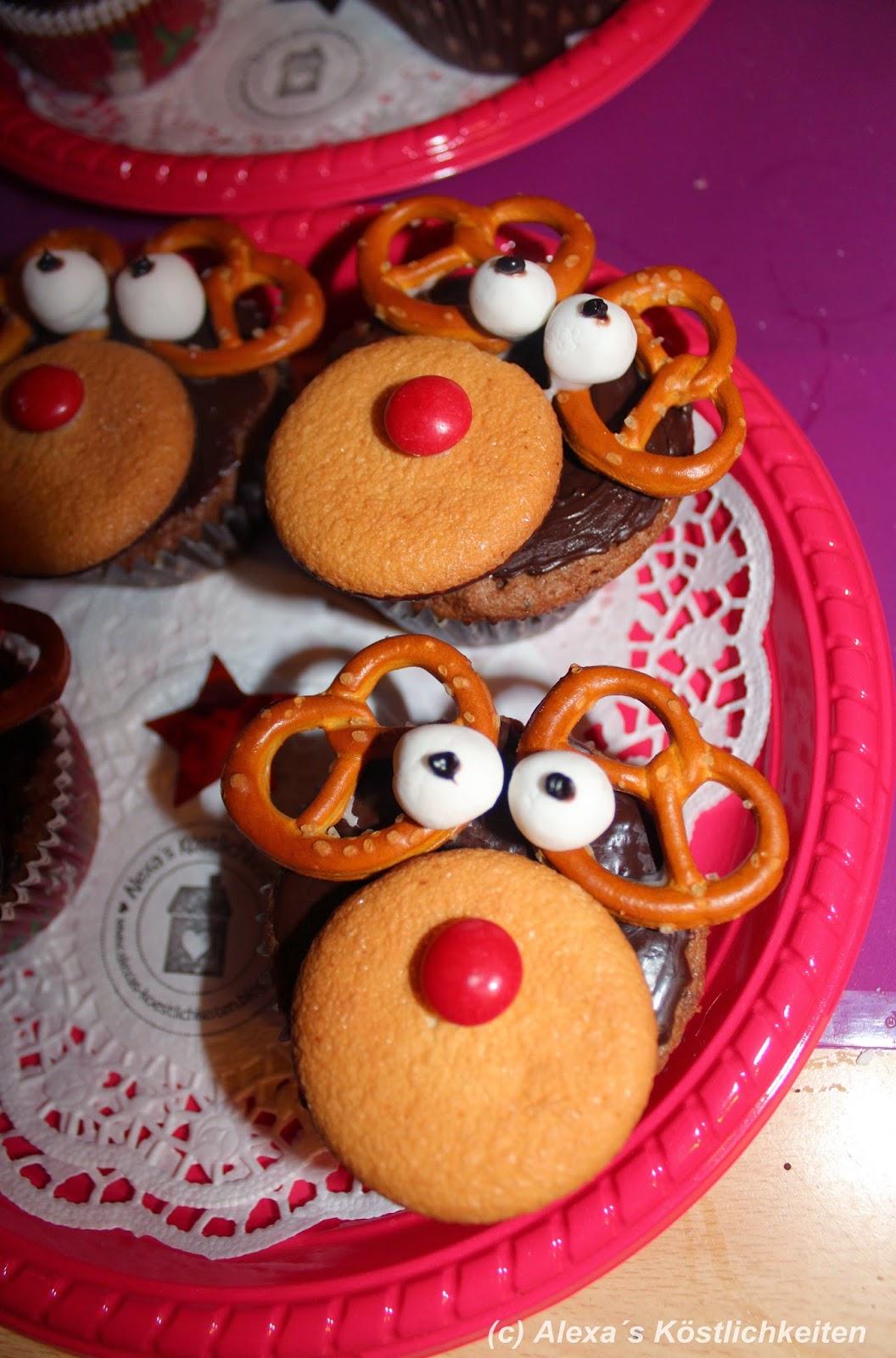 Alexa S Köstlichkeiten Rudolph Rentier Cupcakes