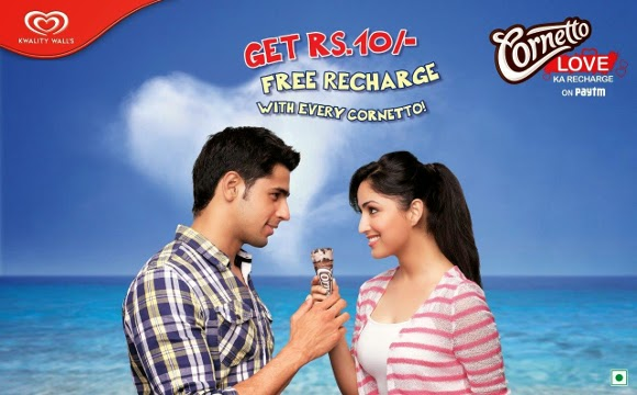 Get Free Rs 10 Mobile Recharge With Every Cornetto Icecream (Paytm Offer)