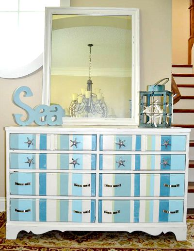 Blue and White Vertical Striped Dresser