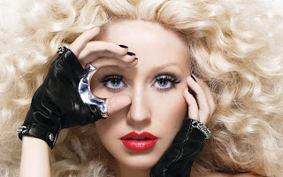 Christina Aguilera Red Lips Blonde Hair HD Wallpaper