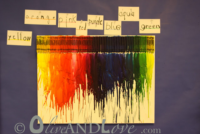 melted crayons on canvas kindergarten art