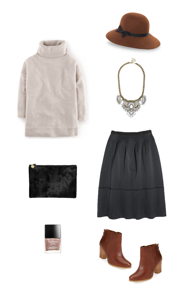 currently loving | cognac ankle boots, navy skirt, off duty sweater