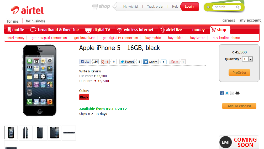 Apple iPhone 5 16GB variant pre- order begins in India through Airtel website for Rs. 45,500