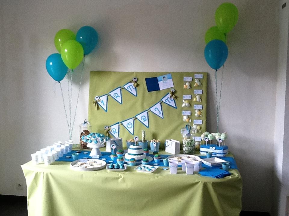 buffet sucré vert bleu