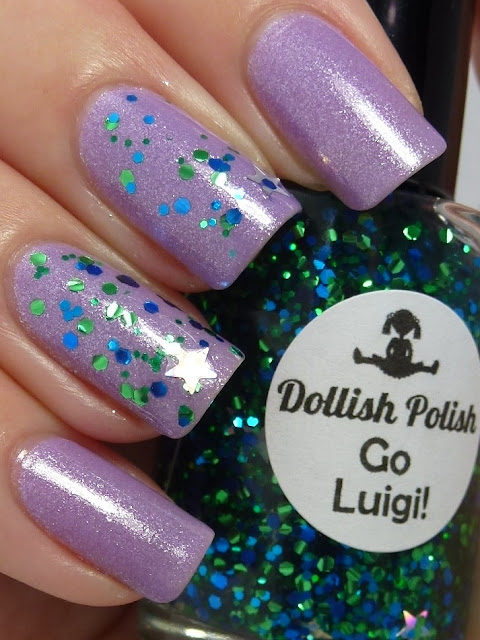 Go Luigi!, Super Mario Brothers, Dollish Polish, One Big Happy Fame-ily, Kardashian Kolor, Nicole by OPI, swatch