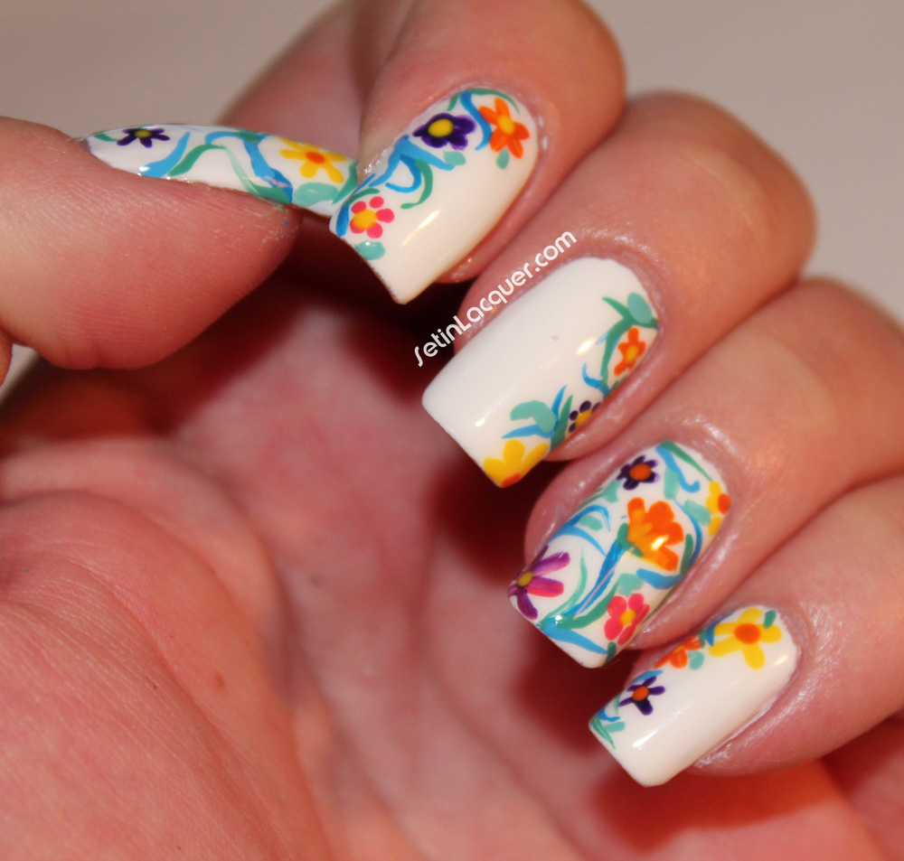 Inspired floral nail art set in lacquer floral nail art solutioingenieria Choice Image