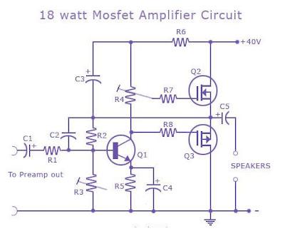 18 Watts Mosfet Audio Amplifier