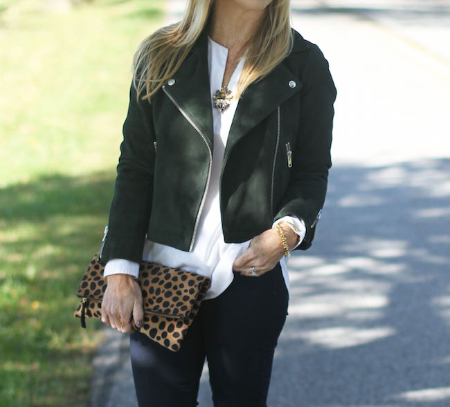 topshop jacket, jcrew necklace, jcrew white tunic, clare v clutch