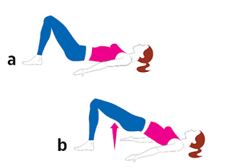 Double-Leg Hip Bridge all fitness Lie faceup with your feet flat on the floor, arms at your sides, palms facing up (a). Lift your hips off the floor, keeping your weight on your heels, until your body forms a straight line from shoulders to knees (b).