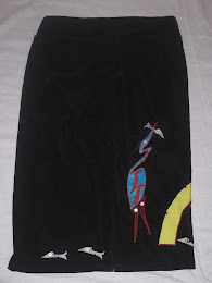 Heron Fishing Faux Suede Skirt (Back)