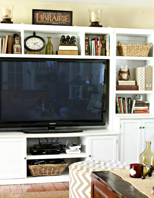 wall unit in family room-www.goldenboysandme.com