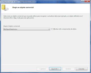 Areatic, ASP.NET 4.0 GridView, elegir origen de datos - Elegir un objeto comercial.