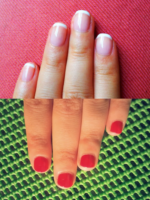 french manicure red nail colour