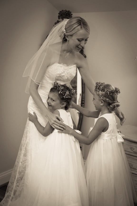 Bluemont Vineyard Bride Getting Ready Hugging Flower Girls