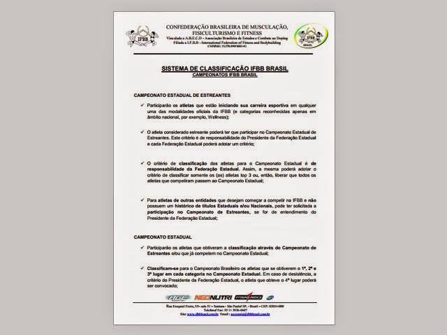 Novo Sistema Classificatório da IFBB Brasil. Foto: Reprodução