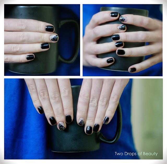 black, glitter, маникюр, черный, лак для ногтей, вечерний, новогодний