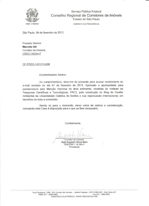 CARTA DE RECONHECIMENTO ENCAMINHADA PELO PRESIDENTE DO CRECI/SP PARA MARCELO GIL - 2013